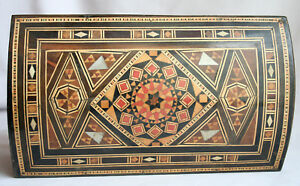 Antique Syrian Inlay Footed Jewelry Box W Key Velvet Lined Two Levels Vguc