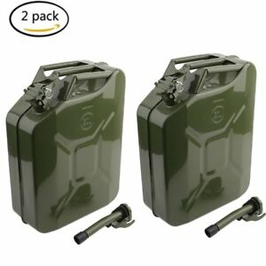 2x Jerry Can 5 Gallon 20l Gas Gasoline Fuel Army Nato Metal Steel Tank Holder Hm