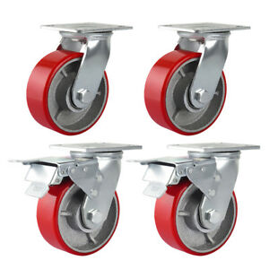 4pcs 5 Heavy Duty Plate Caster Polyurethane Iron Hub Brake Swivel Wheel 750lbs