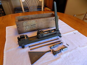 Vintage C. V. Schmitt #12 Reloading Press Cast Iron in original wood case