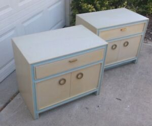 Pair Hickory Mid Century Painted Nightstands