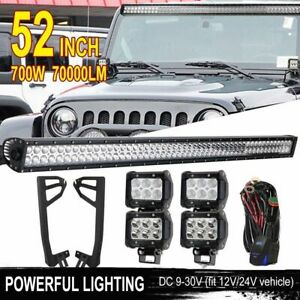 52inch 700w 20 Led Light Bar 4x Pods Mount Bracket Fit For Jeep Wrangler Jk