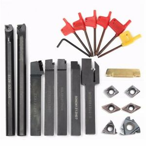 Shank Lathe Turning Tool Holder Boring Bar With 7pcs Carbide Insert And Wrench