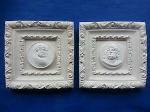 2 Framed Grand Tour Gentlemen Cameo Intaglios Gem Medallions Plaster Tassies