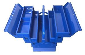 Brufer 90042 5 tray Cantilever Metal Tool Box 16 inch Blue Free Shipping