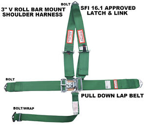 Sfi 16 1 Seat Belt 3 Racing Harness V Style Latch Link Bolt In 5 Point Green