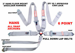 Snap In 6 Point Racing Harness Hans Shoulders Sfi 16 1 Gray