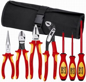 Knipex 7 Piece Electricians Insulated Tool Kit W nylon Tool Roll Tool Kit 21706