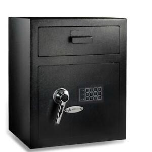 Adiroffice Black Slot Bin Door Mountable Digital Depository Safe