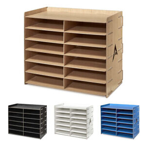 Adiroffice 12 Compartment Wooden Organizer Paper File Storage 4 Colors
