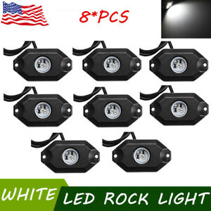 8pcs White 9w Led Rock Lights For Boat Jeep Truck Bed Under Body Led Lighting