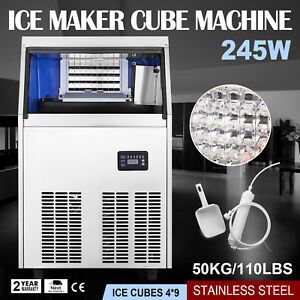 50kg 110lbs Commercial Ice Cube Making Machine Water Filter Ice cream Store Cafe