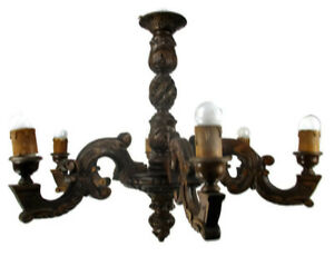 Hand Carved Ornate Wood Chandelier 6 Lights Arms Ceiling Light Lamp Mid Century