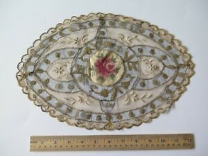 French Hand Embroidered Petit Point Rose Gold Metallic Normandy Lace L 9 X W 13