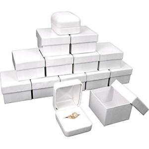 12 White Leather Ring Gift Boxes Jewelry Case Display