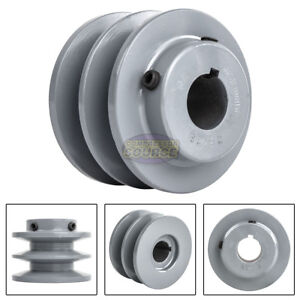 3 Cast Iron 7 8 Shaft Pulley Sheave Single 2 Groove V Style B Belt 5l New