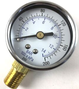 Air Compressor Pressure Gauge 0 200 Psi With 1 4 Inch Male Thread 2 Face