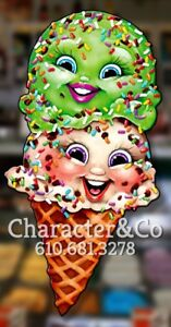 Cute Ice Cream Cone Wall Art Shop Decor 47x24 1 4in substrate Cut Out
