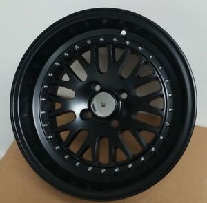 15 X 8 0 Lm20 Style Black Lip Rims Wheels Fits Honda Civic Integra Civic New
