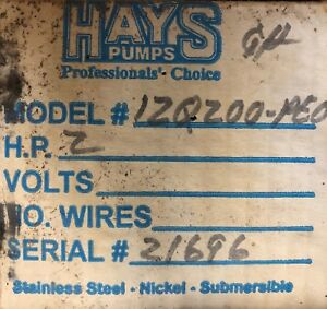 Hays Pumps 4 Submersible Stainless Steel 120200 pe0