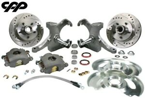 63 70 Chevy Gmc C10 Truck 12 Drilled Disc Brake 5 Lug Kit W 2 5 Drop Spindle