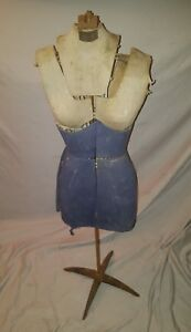 Antique Mannequin Dress Form Adjustable Height As Is Rough Condition