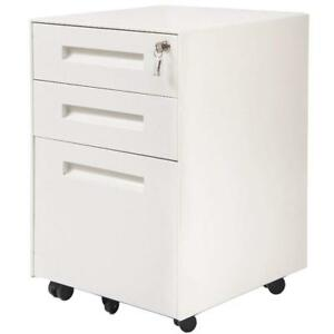 3 Drawer Metal Mobile File Storage Cabinet Filing Organizer Home Office Cabinet