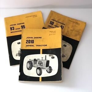 Lot 3 John Deere Wheel Tractor 2010 Backhoes Operators Parts Manuals 50 51 93 95