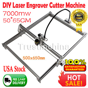 7000mw Usb Cnc Laser Engraver Wood Cutter Metal Machine 50x65cm Diy Kit Aluminum