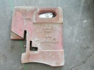 International Harvester Tractor Suitcase Weight 100lb Rowe Foundry Il Tag 147