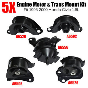Set Of 5pcs Engine Motor Trans Mount Set Fit 1996 2000 Honda Civic 1 6l Black