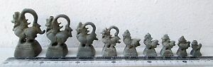 Superb Set Of 9 Bronze Mythical Singh Lion Opium Weight