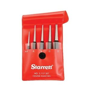 Starrett 5pc Center Punch Set In Case s117pc 50488