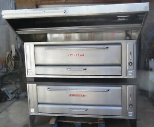 Blodgett 1060 Stainless Nat Gas Double Deck Pizza Ovens With Hood