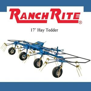 Ranch Rite Hay Tedder Pull Type 4 Rotor Hay Tedder 17 Working Width With Pto