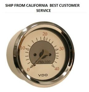12v Vdo Allentare White Grey 4000rpm 3 3 8 85mm Diesel Tachometer Altern
