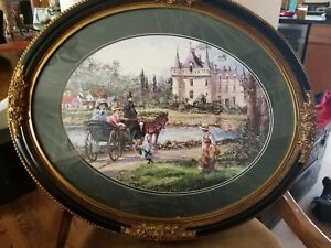 Large French Painting Romantic Oval Frame