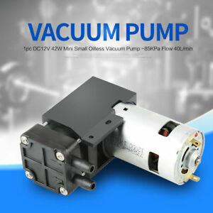 Dc 12v 42w 40l min Flow Oilless Vacuum Pump 85kpa Mini Vacuum Pump Newly Good