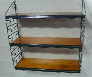 60er 70er String Wall Shelf 2 Black Iron Ladders 3 Teak Shelves Mid Century