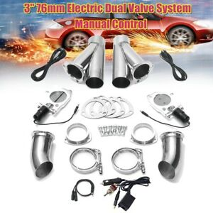 3 Electric Dual Exhaust Valve Catback Y pipe Cutout E cut System Manual Switch