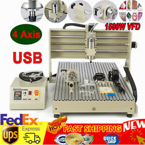 Usb 4axis Cnc Router Engraver Engraving Cutting Mill Machine 6090 1 5kw Vfd 110v