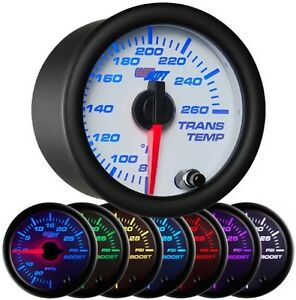52mm Glowshift White 7 Color Transmission Temperature Temp Gauge Gs W712