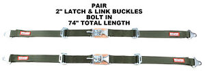 Kit Car 2 Latch Link 74 Seat Belt 2 Point Racing Lap Belts Military Green