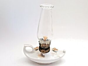 Japanese Genie Oil Lamp With Glass Chimney Vintage White And Gold