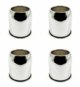 4x Ion Trailer Wheel Center Hub Caps Chrome Push through Open End 3 3 Diameter