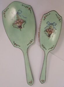 Wonderful Guilloche Enamel On Sterling Silver Vanity Brush And Hand Mirror