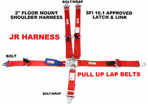 Sfi 16 1 Kids 2 Race Harness Latch And Link Floor Mount Bolt In Seat Belt Red