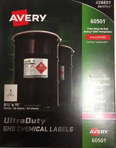 Avery Easy Peel Ultraduty Ghs Chemical Labels Laser 8 1 2 X 11 White 50 box