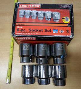 Usa Made Craftsman 3 4 Drive Large Metric Socket Set 6pc Easy Read Laser Etched