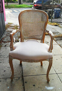 French Vintage Upholstered Chair Armchair Wickerwork On Back Ceruse Carved Wood